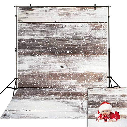 - Funnytree 7X5ft Winter Snow Wooden Floor Photography Backdrop Christmas Snowflake Rustic Wood Flat Lay Photographic Background Faux Panel Texture Board Tabletop Xmas Photo Studio Props Banner