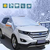 #4: Windshield Snow Cover for Automobiles, Waterproof Frost Snow Shield Sun Shade Snow Cover, Aluminum Foil Windshield Mirror Snow Covers Frost Ice Protector Flap Cover, for SUV,Truck, Cars, silver