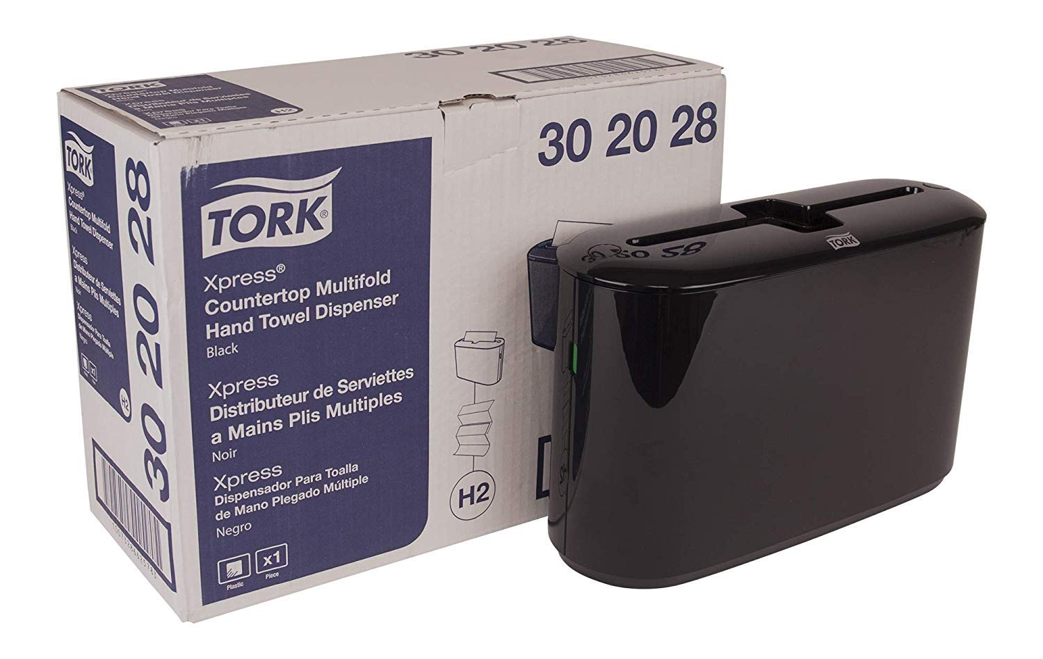 Tork Xpress 302028 Countertop Multifold Hand Towel Dispenser, Plastic, 7.92'' Height x 12.68'' Width x 4.56'' Depth, Black (Case of 1) for use MB550A, MB640, MB540A (Case of 2) by Tork (Image #1)