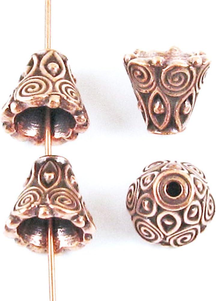 4 TierraCast Pewter Bead Bell Caps-ANTIQUE COPPER HAMMERTONE CONE