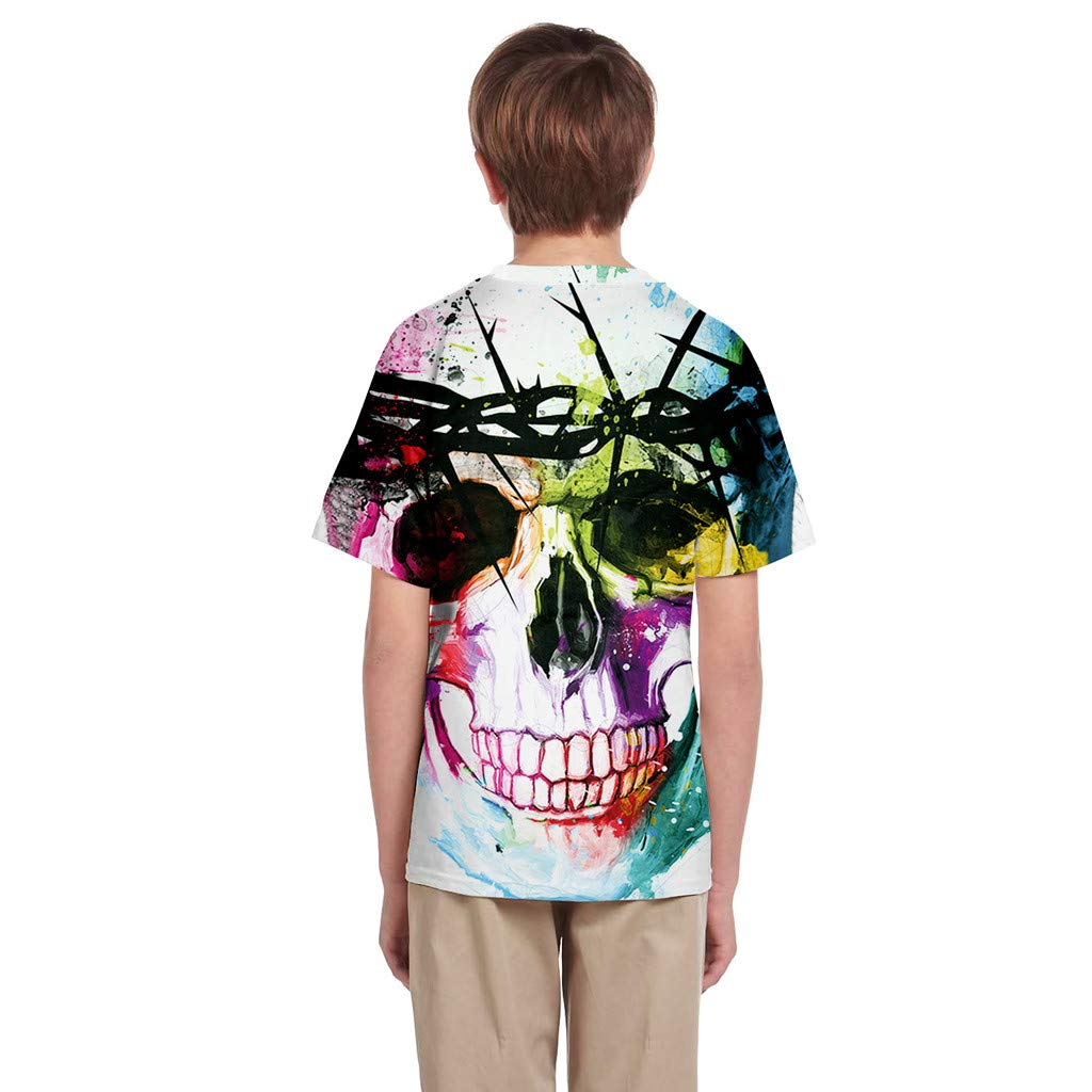 Sunnywill T-Shirt /à Manches Courtes pour gar/çon d/ét/é 3D imprim/é T-Shirt de Dessin anim/é pour Les 7-14 Ans