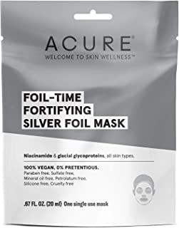 product image for ACURE Foli-Time Fortifying Silver Mask | 100% Vegan | Traps Heat to Open Pores For Superior Serum Delivery | All Skin Types | 12 Count