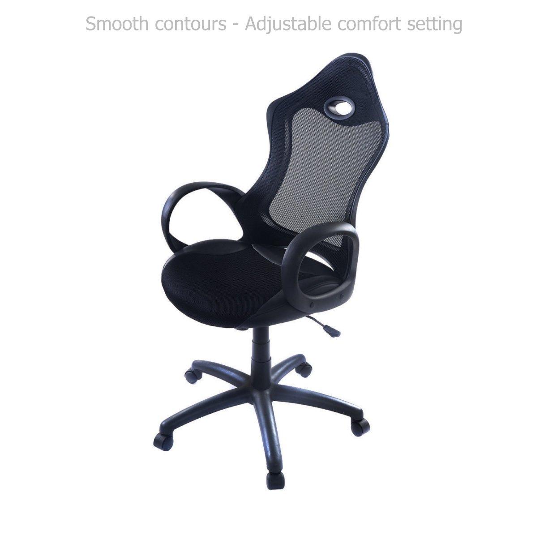 Modern Ergonomic Design High Back Chair Mesh Seats Soft Sponge Upholstery 360 Degree Swivel Home Office Gaming Executive Computer Desk Task - Black #1540b