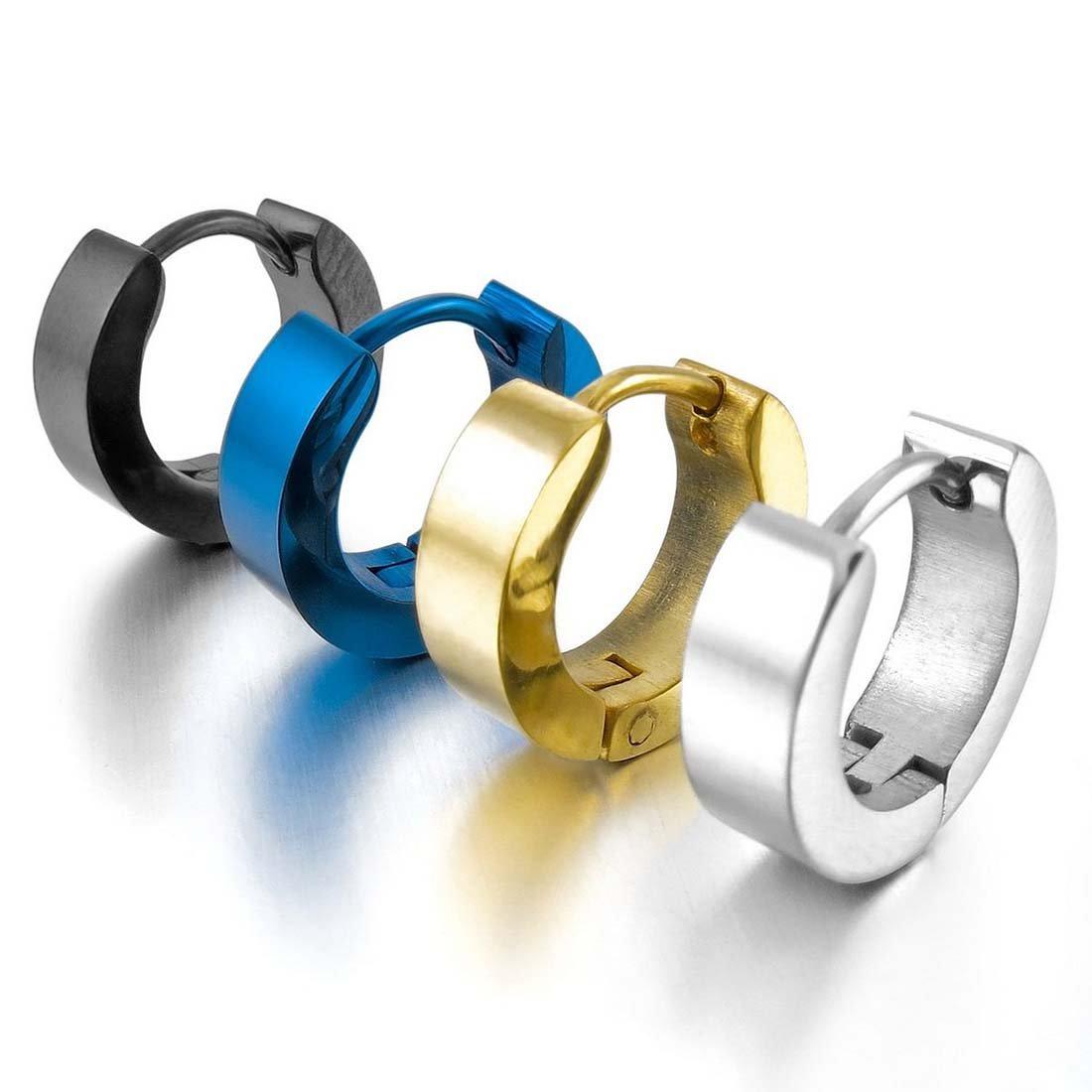 e77e7fe53bac Aro Hoop Pendientes Conjunto - SODIAL(R)Acero Inoxidable Semental Aro Hoop  Huggie Pendientes Plata Negro Azul Oro Clasico Encanto Atractivo Elegante (  4 ...