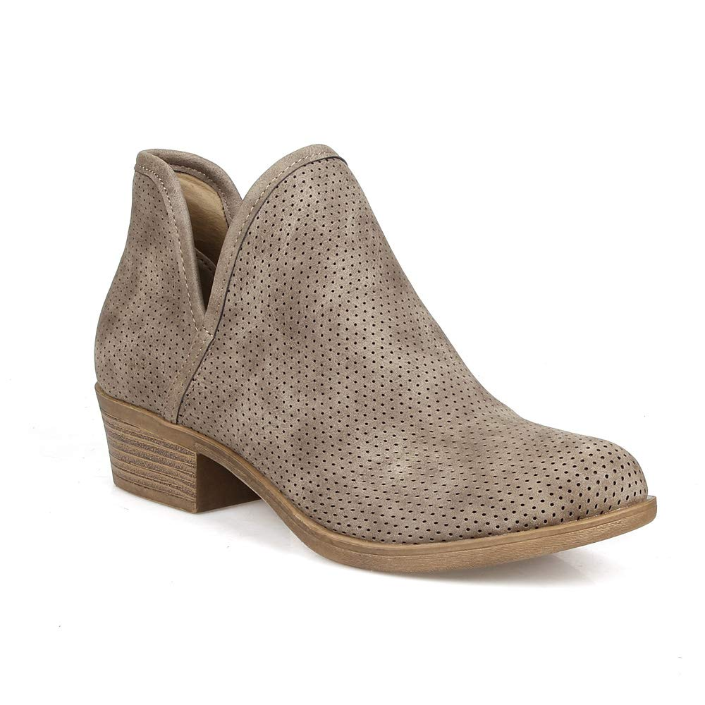 Grey Pu2 MarkandMaddux Women's Stacked Block Low Heel Ankle Booties.