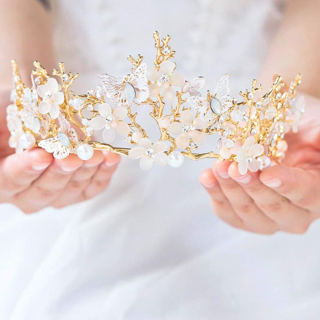 Victray Bride Wedding Flower Crowns and Tiaras Bridal Princess Headbands Crystal Headpiece for Women and Girls