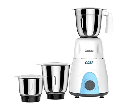 f067ee7b0a Buy Usha Colt Mixer Grinder (MG-3053) 500-Watt 3 Jars with Copper Motor  (White/Blue) Online at Low Prices in India - Amazon.in