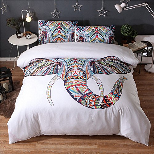 (#005) Mandala Comforter Bedding Cover Colorful Elephant Boho India Duvet Covers Set by trois_s