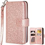EVTECH iPhone X Wallet Case, iPhone 10 Case, Sparkle Leather Wallet 2 in