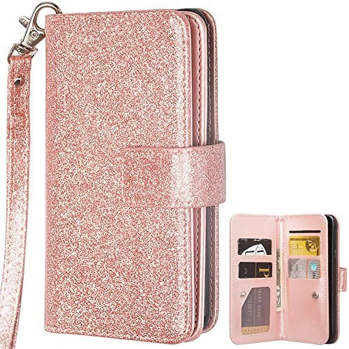 Case,ZTE ZMax PRO 2,ZTE Blade Max 3 Wallet Cover, Leather Wallet 2 in 1 [Magnetic Detachable] Wallet Book Case [Wrist Strap] with ID&Credit Card Pocket Closure for MAX XL N9560 ()
