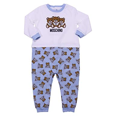 47df0eabf9a4 Moschino Baby Boy White and Pale Blue Cotton Jersey Romper Mod.  MUY01KLAB0783976 12 18  Amazon.co.uk  Clothing