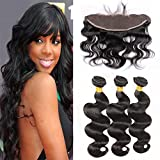 Sunwell Lace Frontal with Bundles Brazilian Hair Extensions 3 Bundles with Frontal Closure 13x4 Free Part Body Wave Natural Color (18 20 22+18 Frontal)
