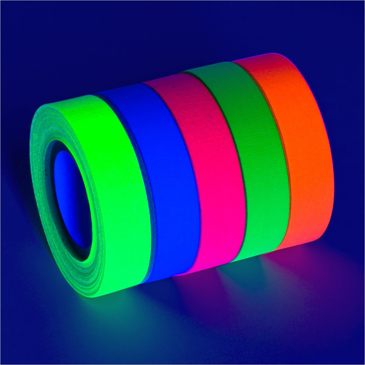 5-Pack UV Blacklight Reactive Fluorescent / Neon Gaffer Tape Matte Finish