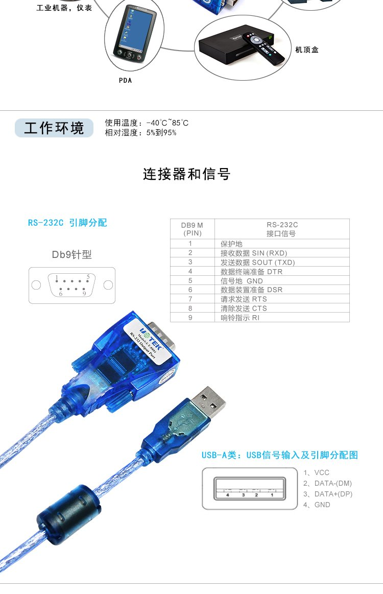 1-port USB to RS-232 Serial Converter with ESD protection UTEK UT-8801 USB to RS-232 Converter ver2.0