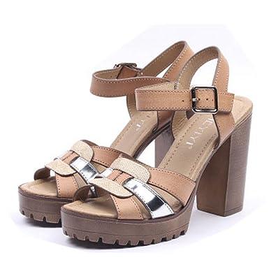 34bc2c4f0c5 Amazon.com   GIY Women's Chunky Heels Platform Sandals Open Toes ...