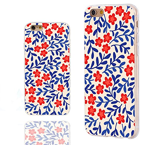 (iPhone 6s Case,iPhone 6 Case,Case for iPhone 6 6s 4.7 Inch,ChiChiC [Floral Series] Full Protective Slim Flexible Durable Soft TPU Cases, Vintage red Flower Blue Leaves Floral Pattern)