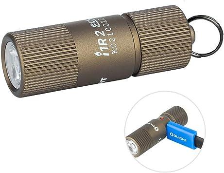 cavo di Ricarica USB Desert Tan Olight i1R 2 EOS Portachiavi Mini Torcia 150 lumen LED CSP Piccole Lampada Torce LED Ricaricabile USB con Custodia per Batteria