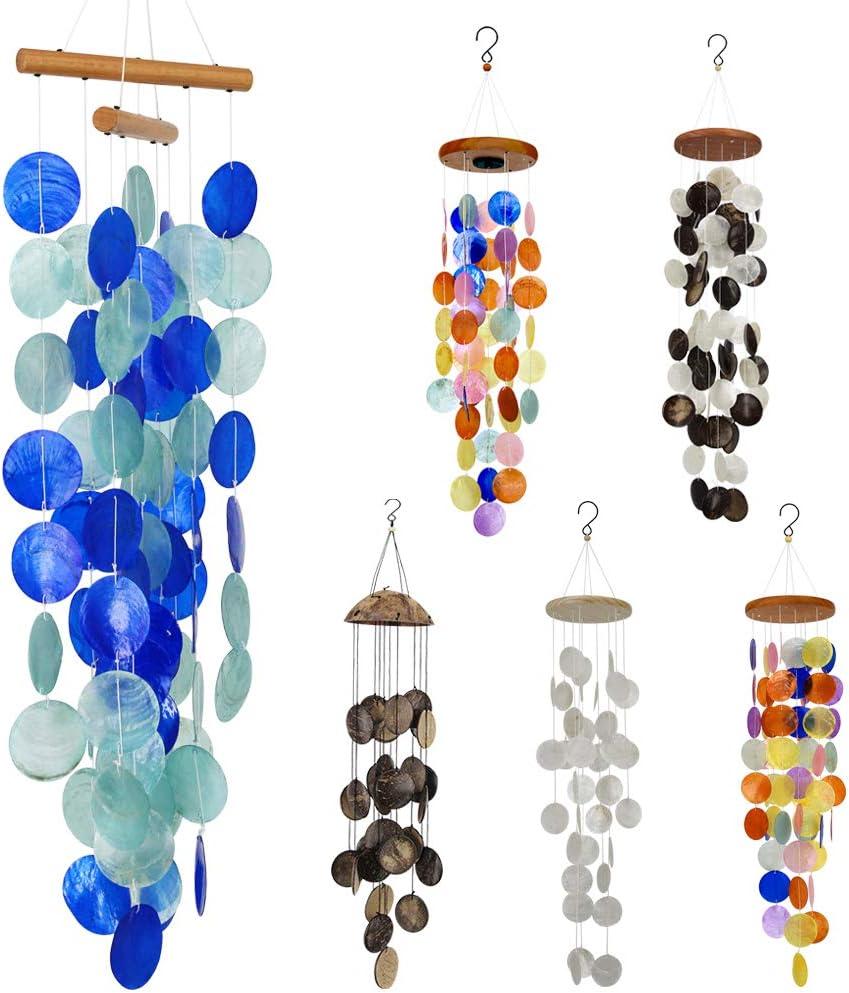 Haus Innendekoration blau nfinate Windspiel einzigartige Erinnerungsst/ücke tolles Geschenk f/ür Garten Capiz-Muschel Hof zum Aufh/ängen handgefertigt