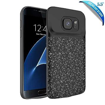 HOTSO Carcasa de Batería Externa compatible con Sumsung Galaxy S7 Edge, 5000mAh Funda Batería Extendida Recargable Resistente a Impactos Estuche de ...