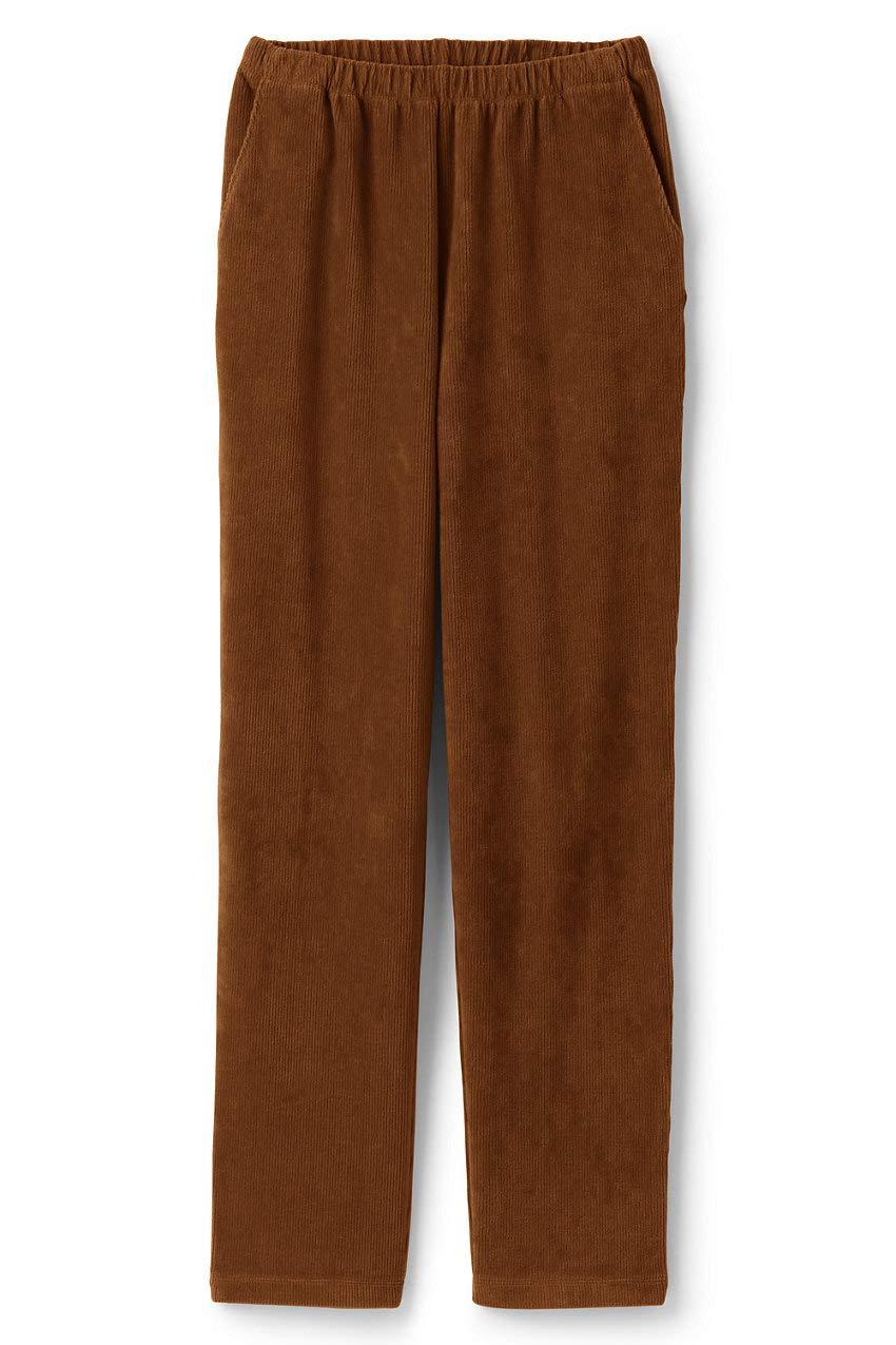 Lands' End Women's Plus Size Sport Knit Corduroy Elastic Waist Pants High Rise 3X Brown by Lands' End