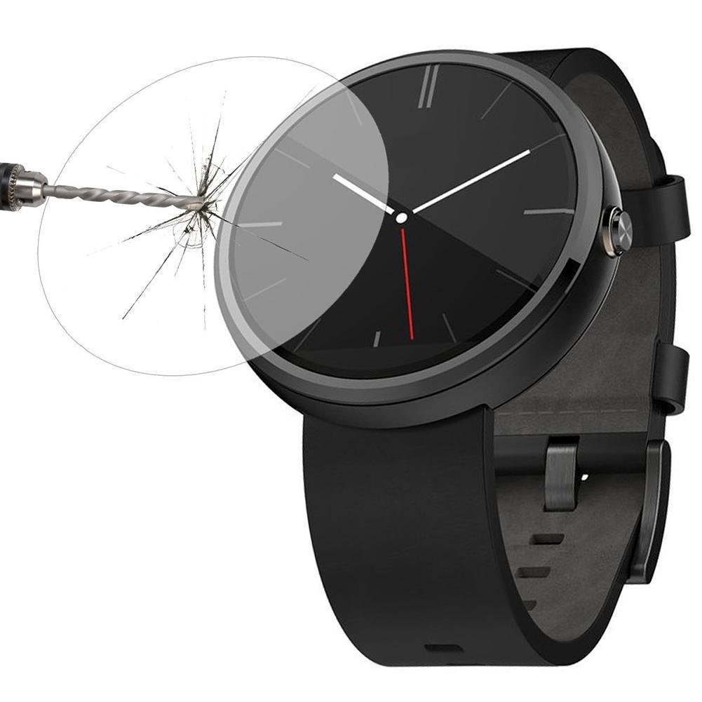 MVPOWER®-Protector de pantalla de Vidrio Templado Lámina Protectora Ultra resistente LCD Para Motorola Moto 360 Smart Watch + accesorios, espesor de ...