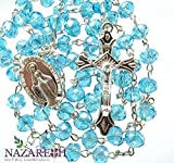Catholic Turquoise Beads Rosary Holy Land Necklace Miraculous Medal and Crucifix 17''
