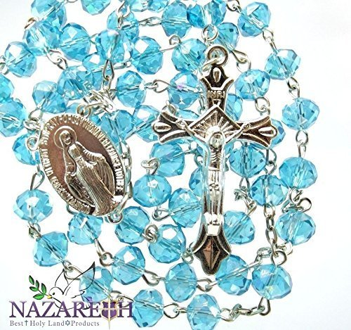 Catholic Turquoise Beads Rosary Holy Land Necklace Miraculous Medal and Crucifix 17'' by Holy Land Gifts