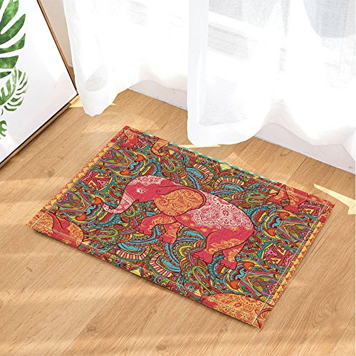 NYMB Little Elephant in Colorful Painting Bath Rugs for Bath
