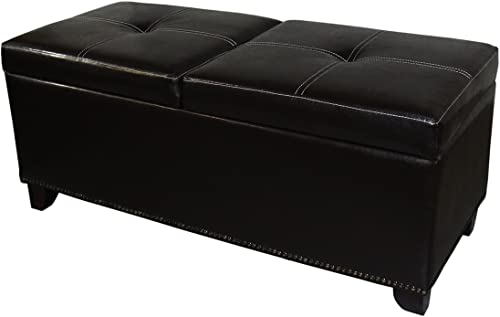 Ore International Leatherette Storage Bench Plus Lift Top Table, 15 , Brown