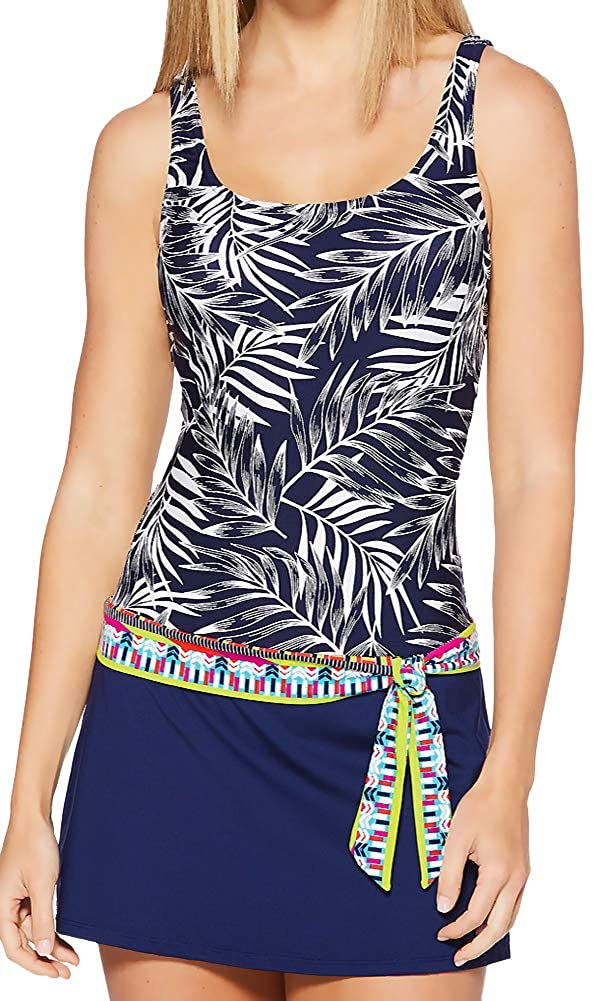 JAG One Piece Swim Dress Belted Skirted Skirt Printed Tropical Palm Swimsuit Navy L