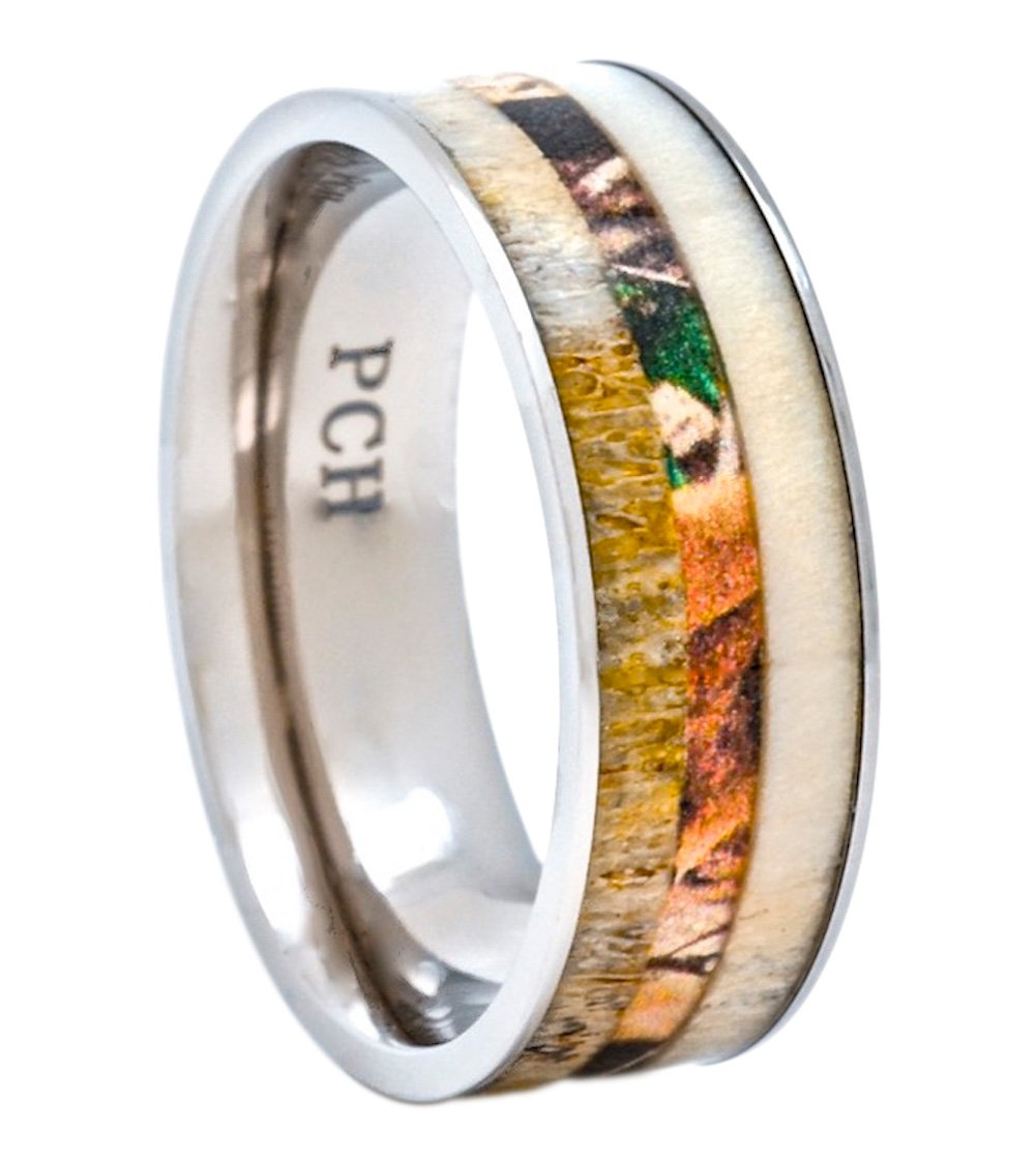 PCH Jewelers Deer Antler Ring with Camo Inlay 8mm Titanium Mens Wedding Band Comfort Fit (10)
