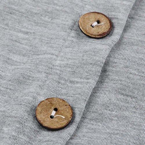 Amlaiworld sommer Baumwolle super Oversized 3/4 Langarmshirt Ringel locker damen Bluse basic elegant Tops Knöpfe weich Oberteile S-6XL Grau