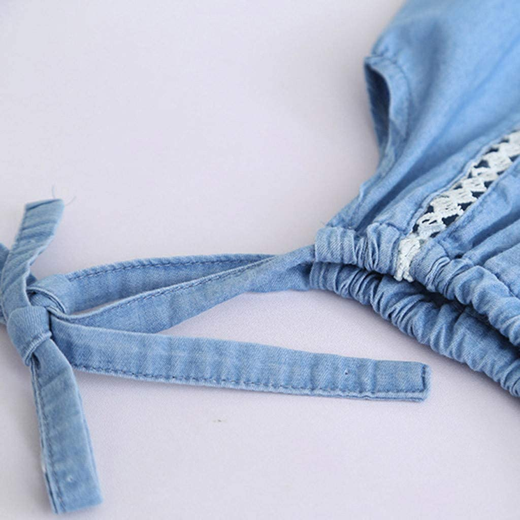 Suma-ma Spring Summer Baby Girls Denim Outfits Lace Flower Strap Tops+Short Pants Sets Clothes
