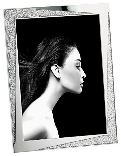 Mascagni M608, Metal Photo Frame with Glitter - Silver Waves Range on