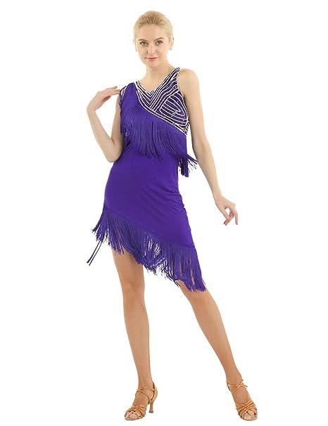 inhzoy Vestido de Baile Latino Flecos para Mujer Lentejuelas ...