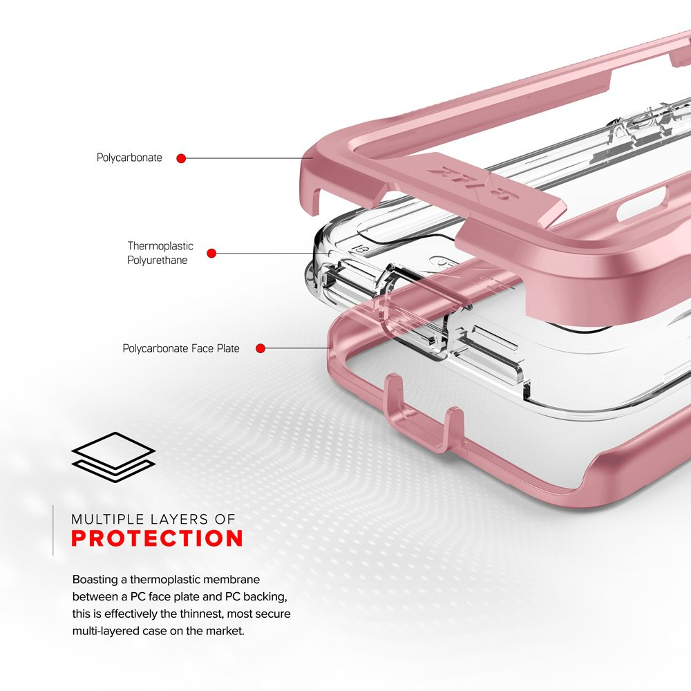 Zizo ION Series compatible with iPhone X Case Military Grade Drop Tested with Tempered Glass Screen Protector ROSE GOLD CLEAR by Zizo (Image #5)