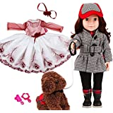 MeiMei 18 inch Doll Full Vinyl Black Coat Life Style Brown Hair Brown Eyes Open and Close 2 Sets Of Clothes and 1 Plush Dog Toy Gift Box For Kids 3+