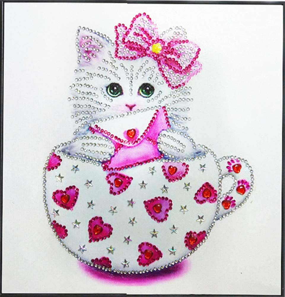 WANGFUFU Tea Cup cat 5D Round Shaped Diamond Painting Rhinestone Crystal Kit Teacup cat