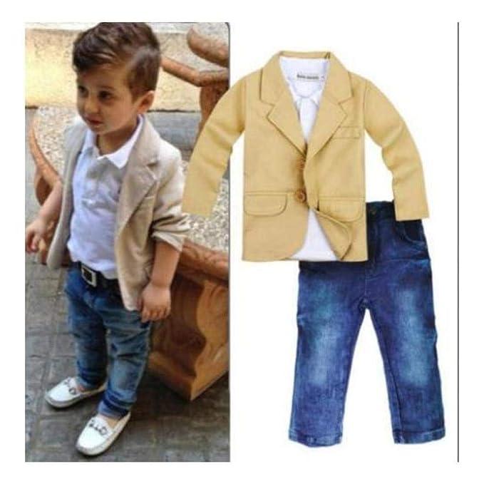 0e5236cbec0 Image Unavailable. Image not available for. Color  FidgetKute 3pcs Kids  Baby Boy Gentleman Coat+Shirt+Jeans Pants Trousers Clothes ...