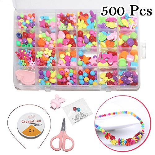 Beads Kit with Headband Set, 26ft String, Knife, Different Shapes of Colorful DIY Beads in a Box for Jewelry Making Kids Adults Children Craft DIY Necklace Bracelets (Summer Crafts For Adults)