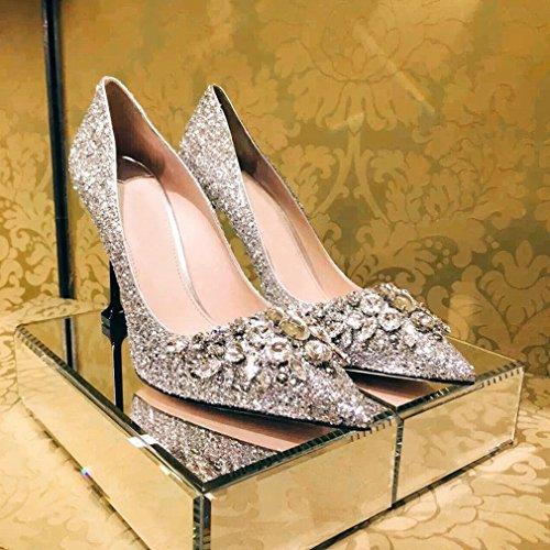 Rhinestone Señaló Tacones Altos Bien con Zapatos de Mujer de Boca Baja UN