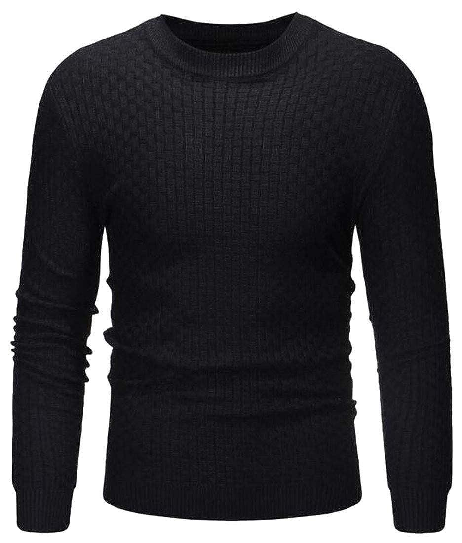 ARTFFEL Men Knit Long Sleeve Crew Neck Plain Pullover Sweater Jumper Top