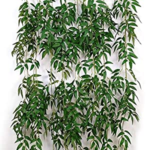 2 Pcs 5.6 Feet/Piece Artificial Willow Hanging Vines Fake Ivy Willow Leaves Twigs Greenery Garland Rattan Silk Plant Leaves String Green Jungle for Wedding Crowns Wreath Party Decoration 93