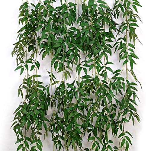 (2 Pcs 5.6 Feet/Piece Artificial Willow Hanging Vines Fake Ivy Willow Leaves Twigs Greenery Garland Rattan Silk Plant Leaves String Green Jungle for Wedding Crowns Wreath Party Decoration )