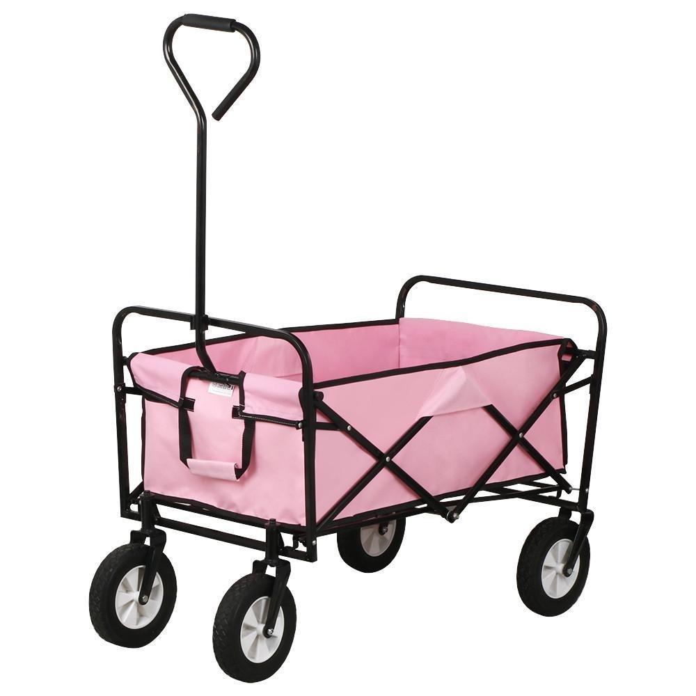 Topeakmart Folding Wagon Utility Garden Cart Beach Shopping Wagon (Pink)