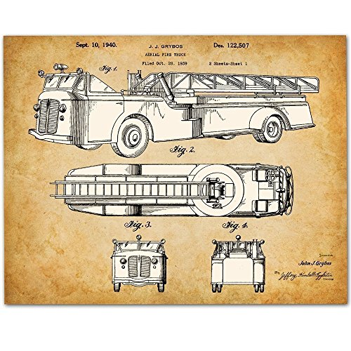 1930s Fire Truck Art - 11x14 Unframed Patent Print - Great Gift for Firefighters