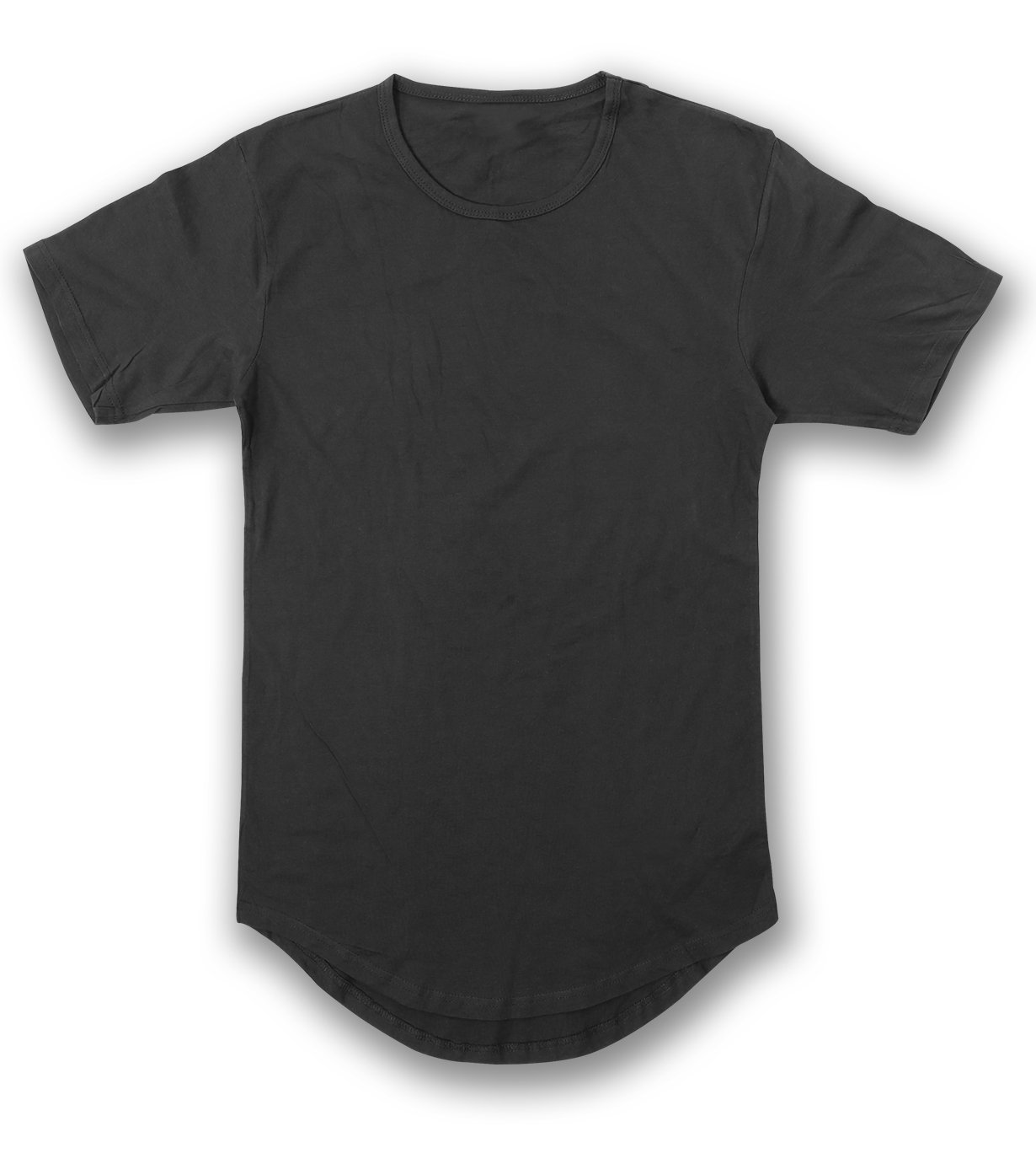 JD Apparel Men's Hipster Longline Drop Cut T-Shirts 2XL Black AM1050