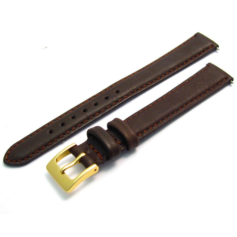 ブラウン、ゴールドバックルソフトレザーExtra Long XLウォッチバンドストラップの選択色14 mm  B01IIC3238