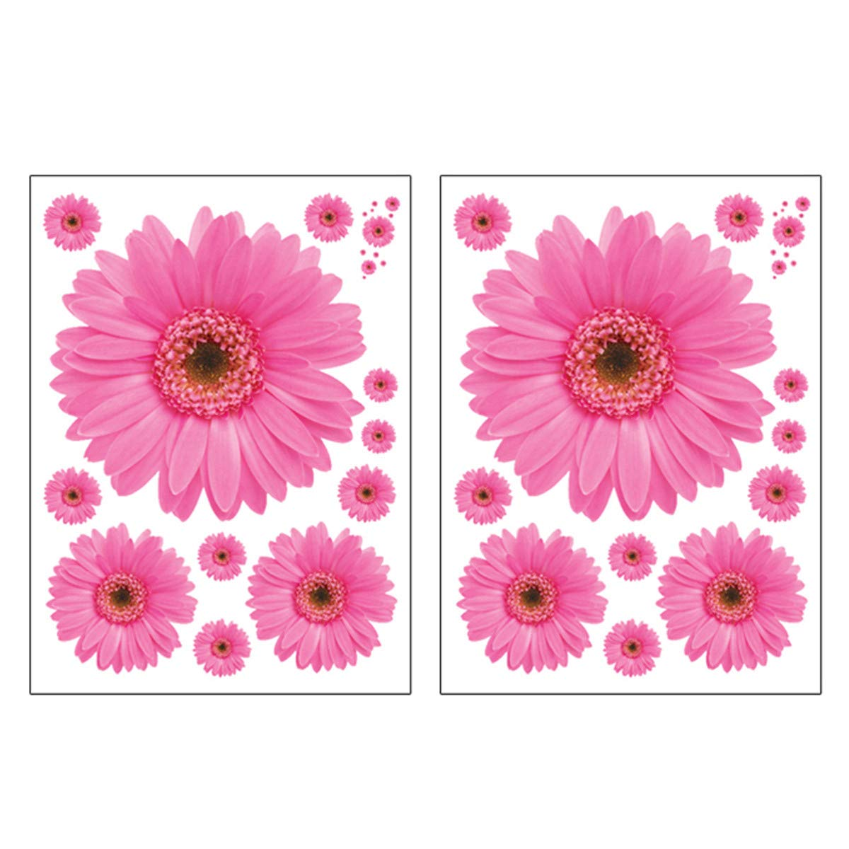 VIIRY 2Sets Sunflower Wall Decals 3D Yellow Red Pink Daisy Flowers Wall Stickers Peel and Stick Removable Wall Art Home Decor for Kids Room Living Room Bedroom Nursery Stickers Decoration(Pink)