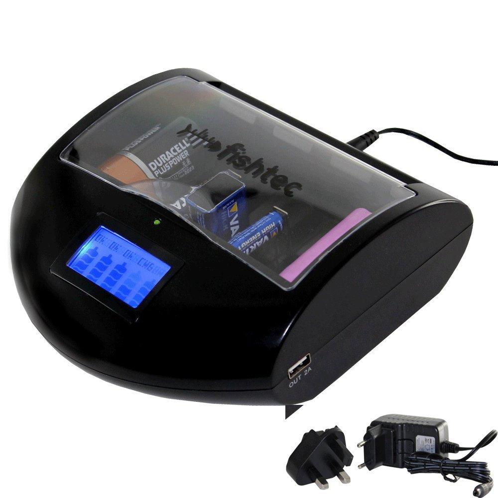FISHTEC ® Cargador Universal de pilas Detección Automática: Ni-Cd Ni-Mh, Lithium, Alcalinas desechables - Puerto USB
